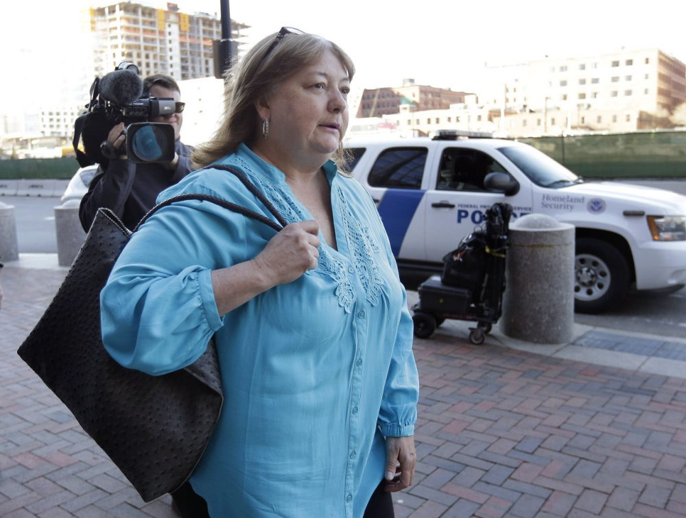Liz Norden, whose two sons lost legs in the 2013 Boston Marathon bombing, arrives at federal court on Thursday. (Steven Senne/AP)