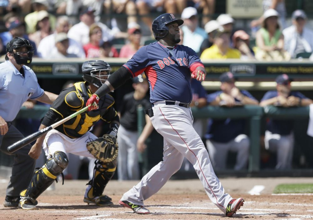 Boston Red Sox designated hitter David Ortiz watches his three-run home run clear the center field wall during the third inning of a spring training exhibition baseball game against the Pittsburgh Pirates in Bradenton, Fla., Thursday, March 12, 2015. (Carlos Osorio/AP)