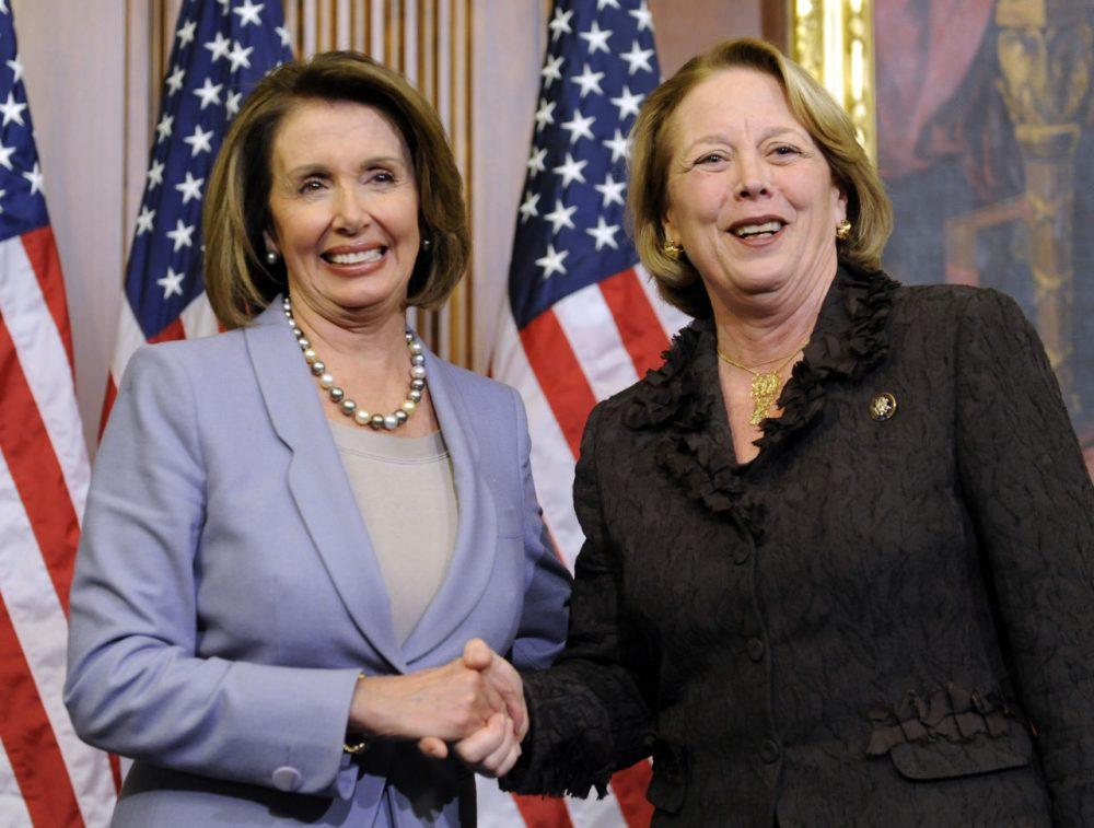 In this 2009 photo, then-House Speaker Nancy Pelosi, left, of Calif. shakes hands with Rep. Niki Tsongas. (Susan Walsh/AP)