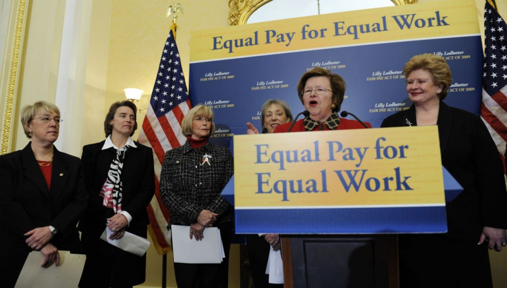 "Sen. Barbara Mikulski, D-Md. speaks during a news conference on Capitol Hill in 2009, in favor of the ""Lilly Ledbetter Fair Pay Act."" (Susan Walsh/AP)"