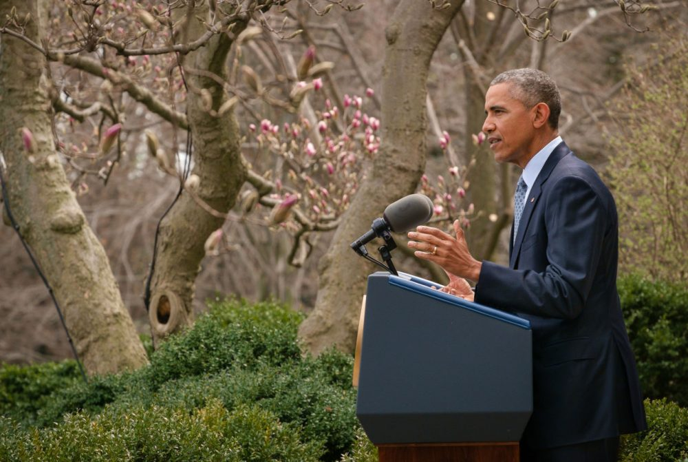 President Barack Obama speaks about the negotiations to curb Iran's nuclear technologies during a statement in the Rose Garden at the White House in Washington, Thursday, April 2. Iran and and six world powers have agreed on the outlines of an understanding that would open the path to a final phase of nuclear negotiations. (J. David Ake/AP)