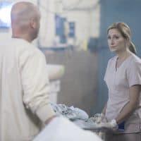 "Matt Maher as Matt and Edie Falco as Jackie Peyton in ""Nurse Jackie.""  (Courtesy David M. Russell/Showtime)"