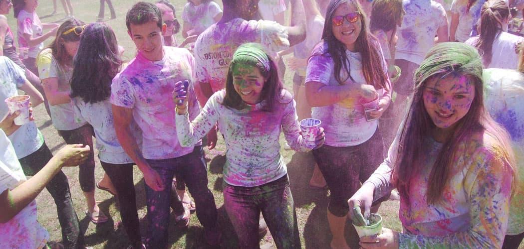 Celebrating Holi at Boston College. (Greg Cook)