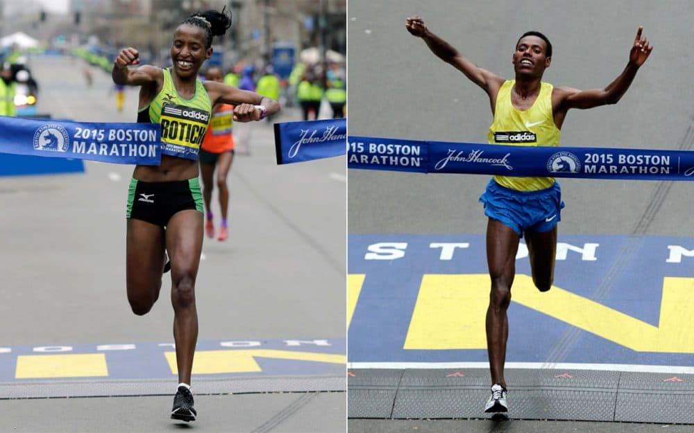 Caroline Rotich, left, and Lelisa Desisa, right, cross the Boston Marathon finish line. (AP)