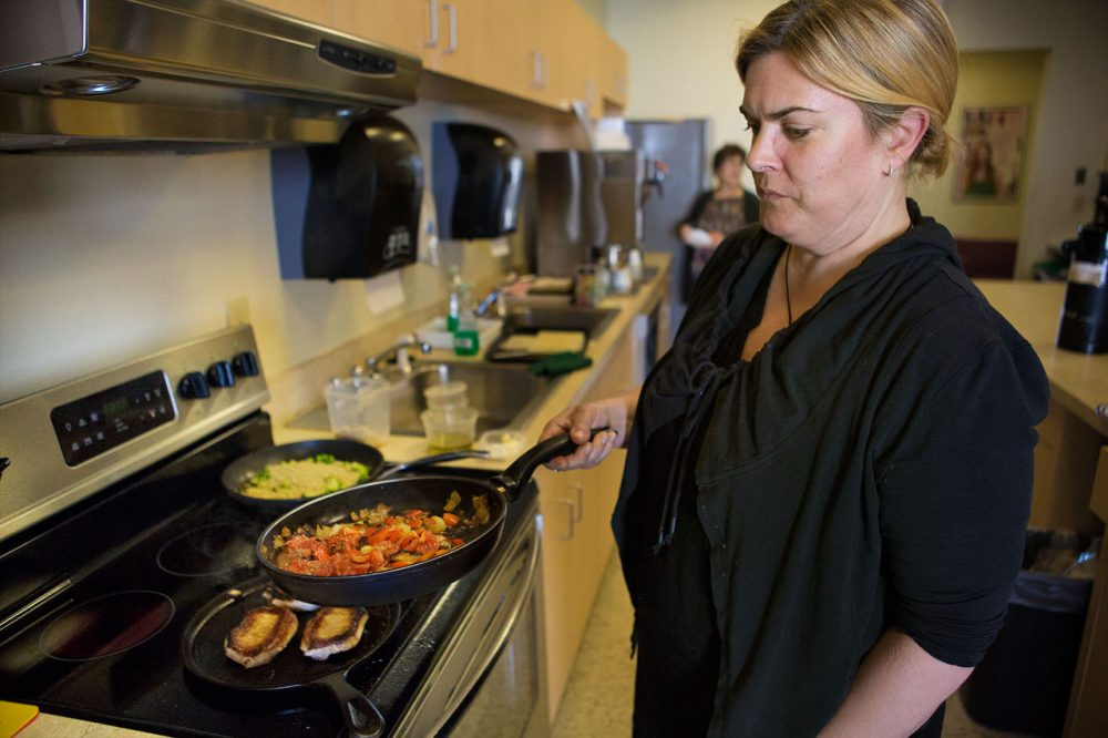 Ana Sortun does a cooking demonstration in the WBUR kitchen. (Jesse Costa/Here & Now)