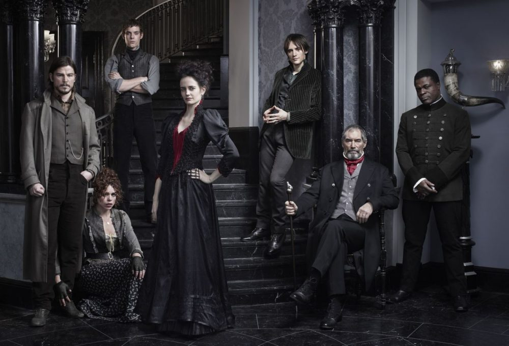"The cast of ""Penny Dreadful,"" from left: Josh Hartnett as Ethan Chandler, Billie Piper as Brona Croft, Harry Treadaway as Dr. Victor Frankenstein, Eva Green as Vanessa Ives, Reeve Carney as Dorian Gray, Timothy Dalton as Sir Malcolm and Danny Sapani as Sembene. (Jim Fiscus/Showtime)"