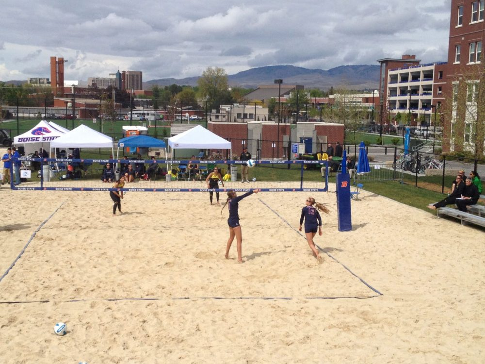 Players from Arizona and Oregon square off in a sand volleyball match in Boise, Idaho on April 24, 2015.  Both schools are among those to add the sport in the last two years. (Scott Graff/Only A Game)