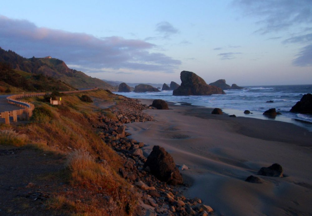 A stretch of coastline accessible via the West Coast Electric Highway, in Curry County, Oregon. (Tom Banse/Northwest News Network)