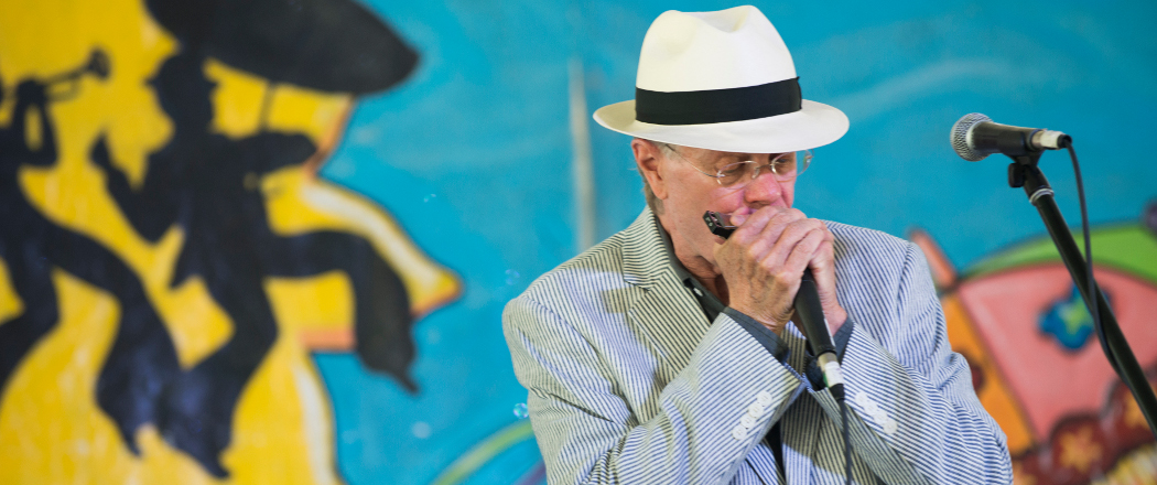 Scott Billington performing in the kids' tent at the New Orleans Jazz & Heritage Festival. (Brenda Ladd)