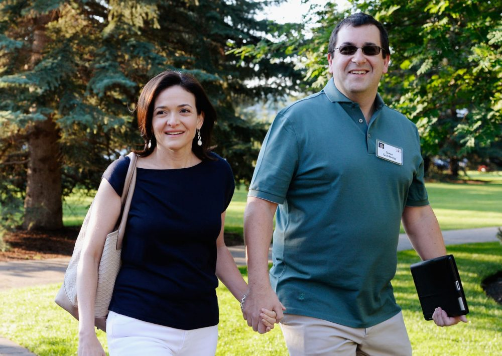 Sheryl Sandberg, COO of Facebook, and her husband David Goldberg are pictured on July 10, 2013 in Sun Valley, Idaho. (Kevork Djansezian/Getty Images)