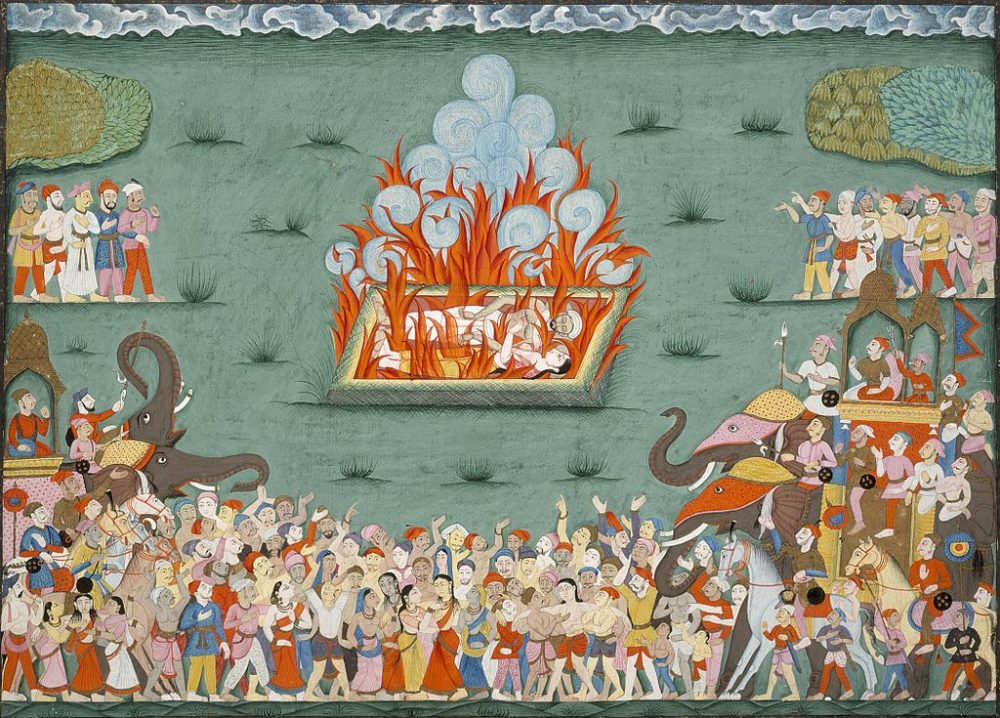 This illustration depicts a traditional Sati funeral service. (Wikimedia Commons)