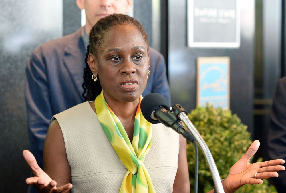 New York First Lady Chirlane McCray speaks at an event to raise awareness for mental health at the Empire State Building on May 5, 2015 in New York City. (Slaven Vlasic/Getty Images)