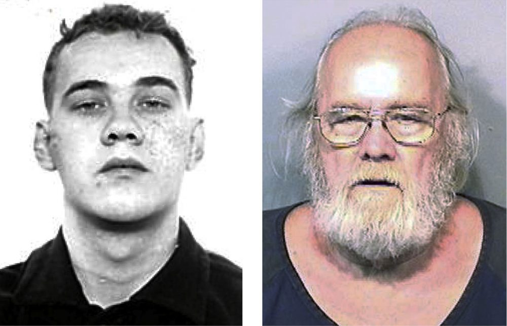This pair of photo shows shows Harold Frank Freshwaters, left, in a Feb. 26, 1959 Ohio State Reformatory photo released by the U.S. Marshals Service, and right, in a May 4, 2015, booking photo released by the Brevard County Sheriff's Office. Freshwaters, 79, of Akron, Ohio, was arrested by U.S. Marshals Monday, May 4, 2015 by in Melbourne, Fla. He was convicted of voluntary manslaughter for killing a pedestrian with his car in 1957. Freshwaters initially received a suspended sentence but was imprisoned in 1959 for a parole violation. He fled a prison farm in northwest Ohio later that year. (Ohio State Reformatory and Brevard County Sheriff's Office via AP)