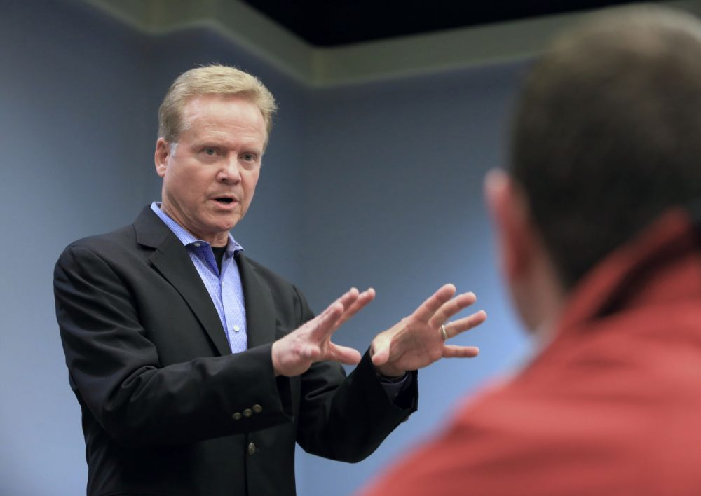 Former Virginia Sen. Jim Webb speaks at an event at the public library in Council Bluffs, Iowa on April 9. (Nati Harnik/AP)