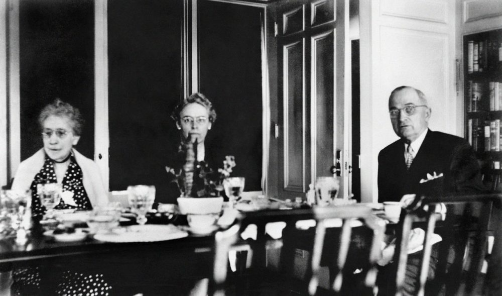 Madge Gates Wallace, President Truman's mother-in-law, and Natalie Ott Wallace, his sister-in-law, in the breakfast room at the White House with the president in 1946. (Harry S. Truman Library)