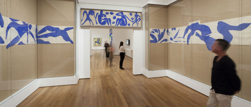 The Swimming Pool (1952) in the exhibition Henri Matisse: The Cut-Outs at the Museum of Modern Art in New York. (Jonathan Muzikar/MoMA)