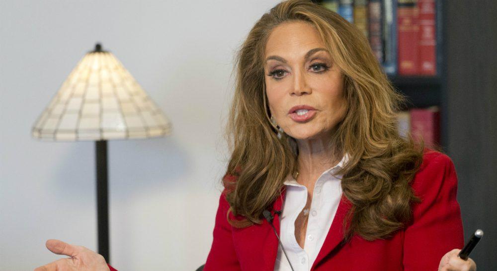 Pamela Geller is interviewed at The Associated Press, Thursday, May 7, 2015 in New York. Geller is one of the nation's most outspoken critics of Islamic extremism, taking the hard-edge view that such extremism sprouts not from fringe elements but the tenets of the religion itself. She was the organizer of a controversial cartoon contest about the Prophet Muhammad in Texas where two men started shooting before they were killed by police. (Mark Lennihan/AP)