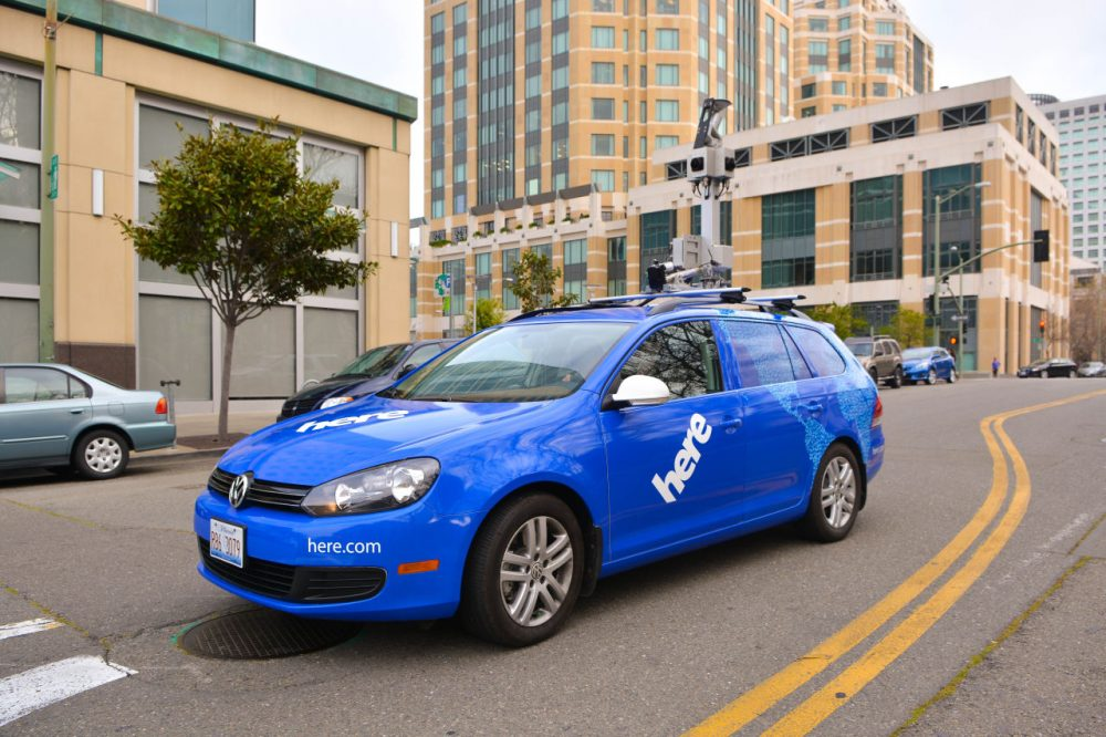 A Here car outfitted with GPS, LIDAR and cameras. (Nokia Here)