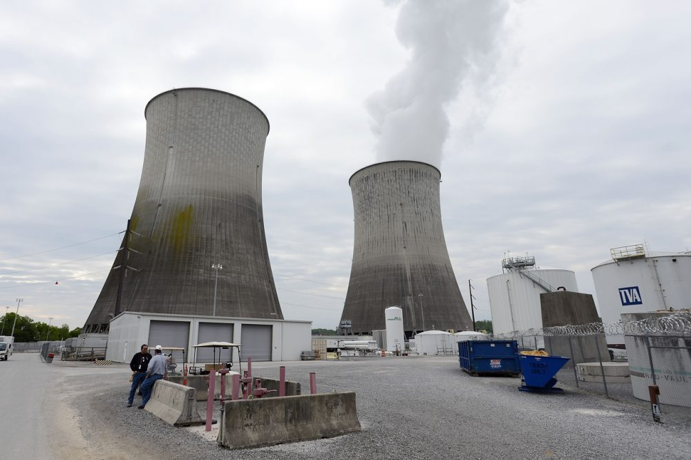 In this April 29, 2015 photo, cooling towers for Unit 1, right, and Unit 2, left, are shown at the Watts Bar Nuclear Plant near Spring City, Tenn. (Mark Zaleski/AP)