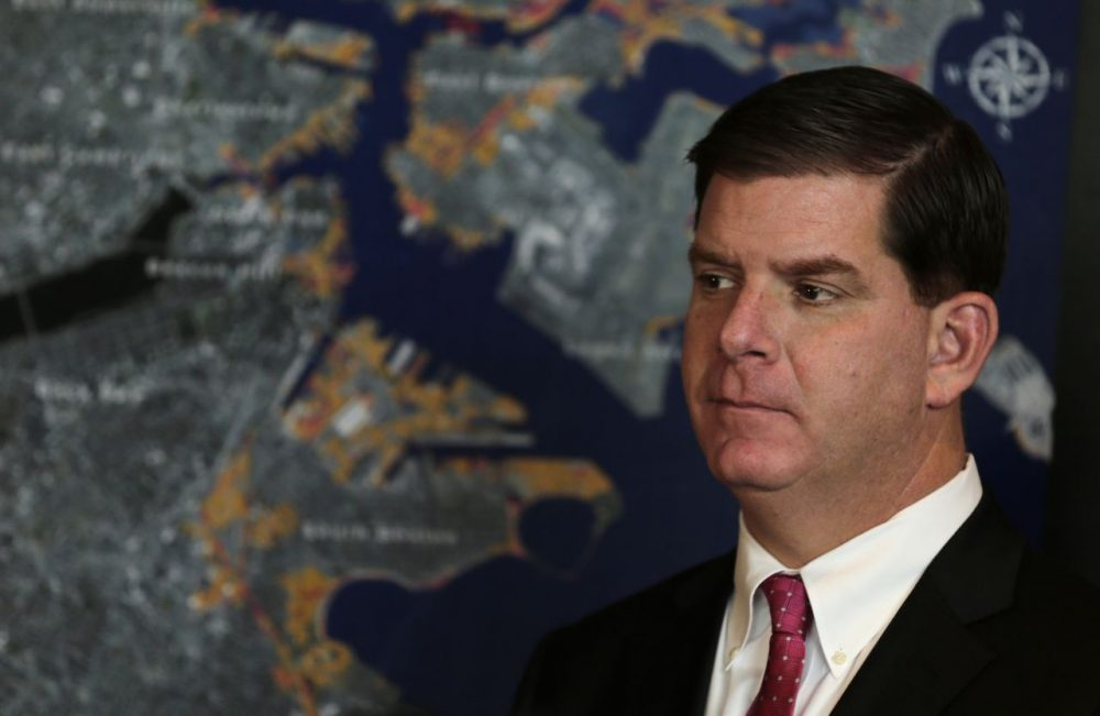 Boston Mayor Marty Walsh, during an early 2014 news conference on climate change (Charles Krupa/AP)