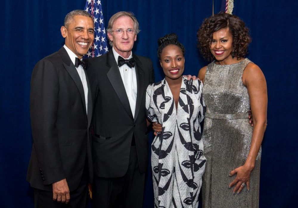 President Barack Obama, George Lehner, Sandra Uwiringiyimana and First Lady Michelle Obama pose for a photo at the White House Correspondents' Dinner. (J. M. Eddins Jr.)