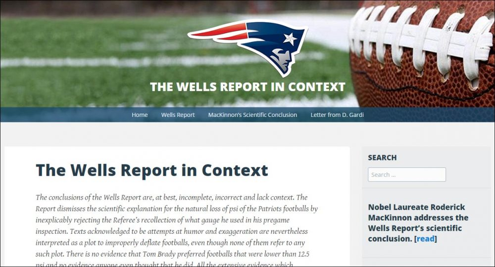 "A screenshot of wellsreportcontext.com, where the Patriots have published a report of their own disputing the findings of the NFL's ""DeflateGate"" investigation."
