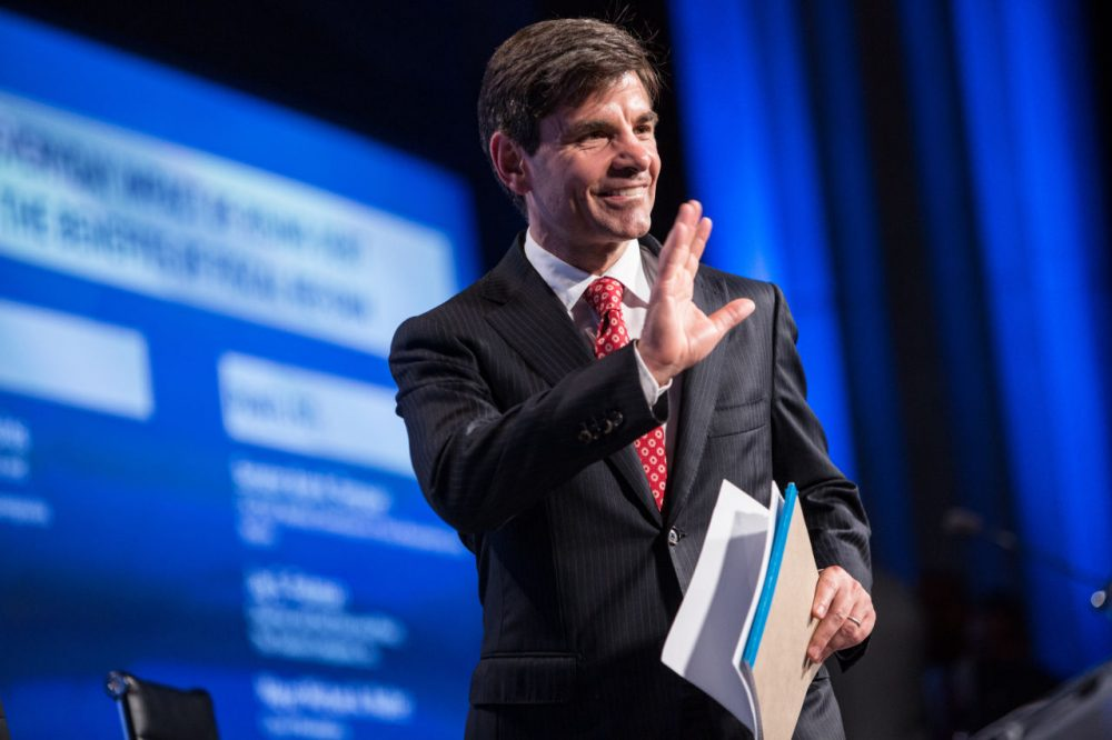"""George Stephanopoulos, host of """"Good Morning America,"""" walks on stage at the 2012 Fiscal Summit on May 15, 2012 in Washington, D.C. (Brendan Hoffman/Getty Images)"""