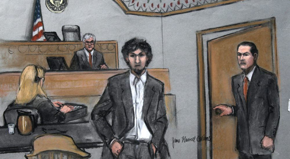 In this courtroom sketch, Boston Marathon bomber Dzhokhar Tsarnaev arrives in the courtroom at the Moakley Federal court house in the penalty phase of his trial in Boston, Friday, May 15, 2015. The federal jury ruled that the 21-year-old Tsarnaev should be sentenced to death for his role in the deadly 2013 attack. (Jane Flavell Collins/AP)
