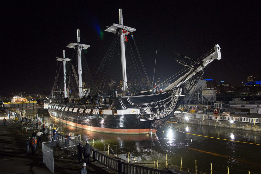 The USS Constitution arrives in place in dry dock where it will remain for over two years for repairs. (Robin Lubbock/WBUR)