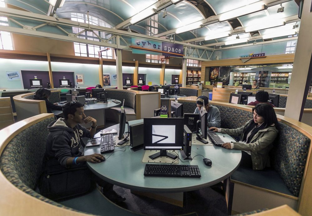 Patrons use computers in the Teen'Scape area at the Los Angeles Public Library. (Damian Dovarganes/AP)