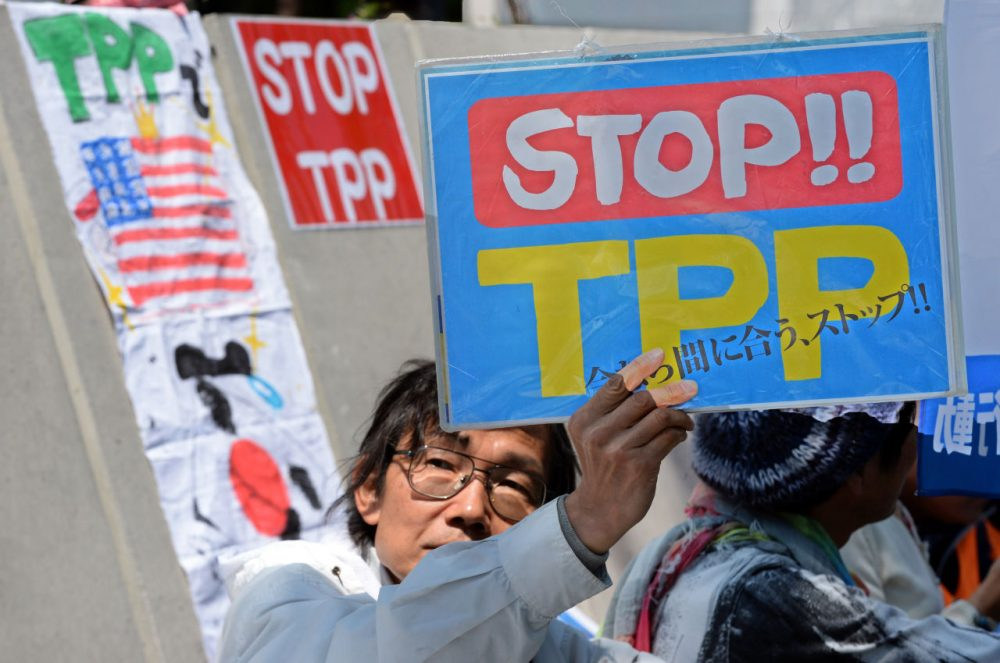 A demonstrator displays a placard to protest against the Trans Pacific Partnership (TPP) trade deal at a sit-in demonstration in front of the parliament building in Tokyo on April 23, 2014(Toshifumi Mi Kitamura/AFP/Getty Images)