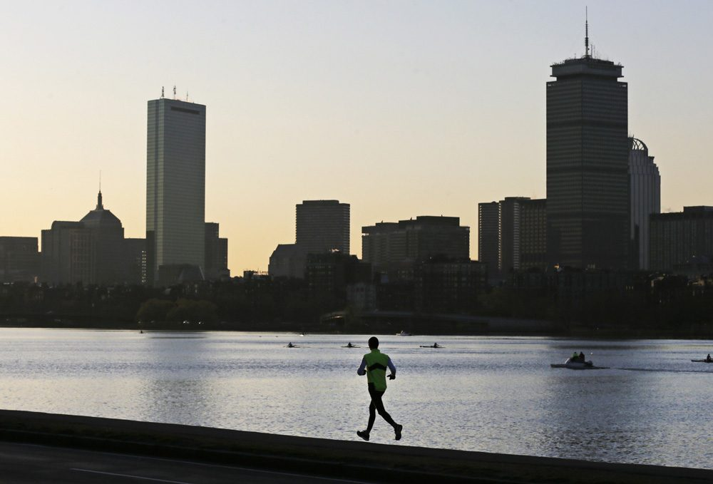 The Boston Skyline is seen from Cambridge, Mass. in April 2013.  (Charles Krupa/AP)
