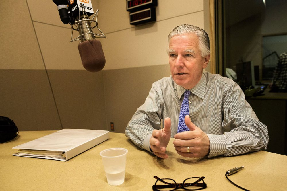 Incoming UMass President Marty Meehan talks about his plans for the five-campus system during an interview at WBUR. (Jesse Costa/WBUR)