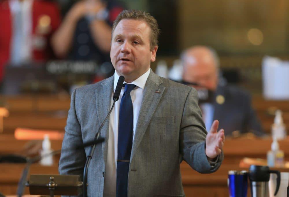 Nebraska state Sen. Colby Coash of Lincoln speaks during debate in Lincoln, Neb., Tuesday, May 12, 2015. (Nati Harnik/AP)