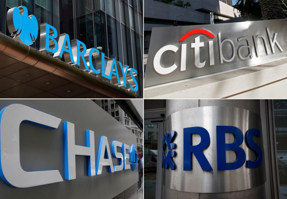 This combination made from file photos shows signage for four banks, Barclays, Citigroup, JPMorgan Chase, and the Royal Bank of Scotland, that will pay $2.5 billion in fines and plead guilty to criminally manipulating global currency market going back to 2007. The banks conspired with one another to fix rates on U.S. dollars and euros traded in the huge global market for currencies, according to a settlement announced Wednesday, May 20, 2015, between the banks and U.S. Justice Department. (Lefteris Pitarakis, Nick Ut, Kathy Willens, Matt Dunham/AP)