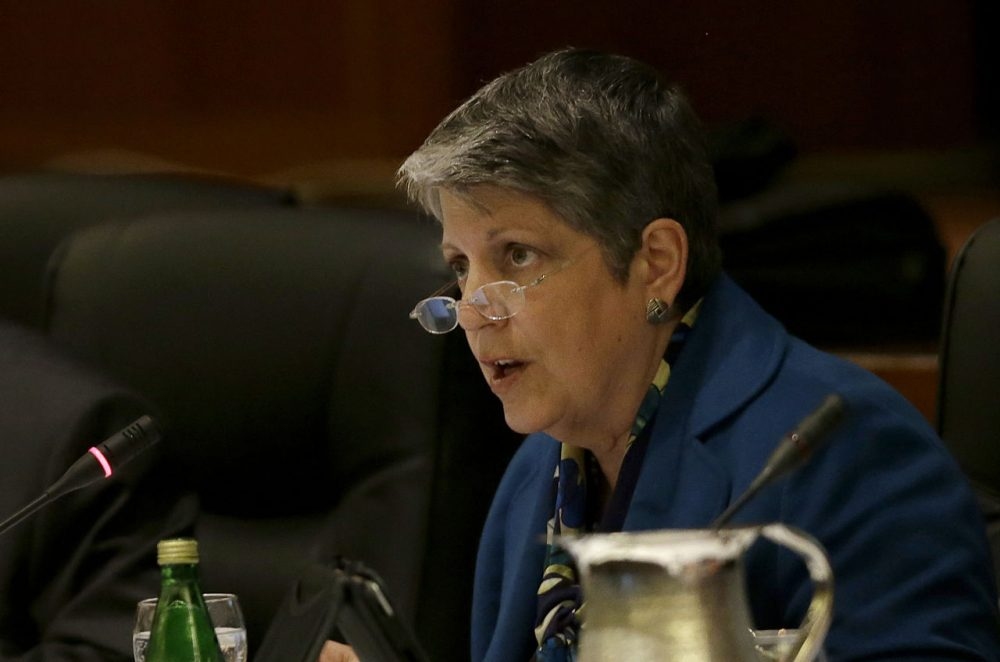 University of California president Janet Napolitano speaks while giving a briefing on the progress she and Gov. Jerry Brown have made in ironing out their differences over UC's budget during a UC Board of Regents meeting in San Francisco, Wednesday, March 18, 2015. (Jeff Chiu/AP)