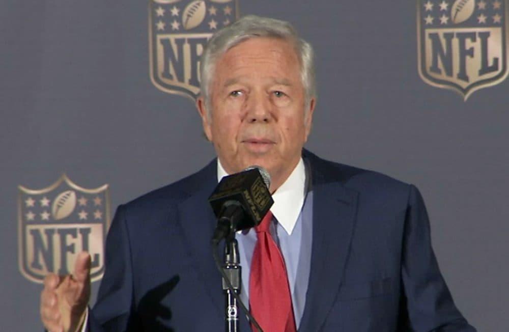 New England Patriots owner Robert Kraft speaks at the NFL owners meetings in San Francisco May 19. (NFL via AP)