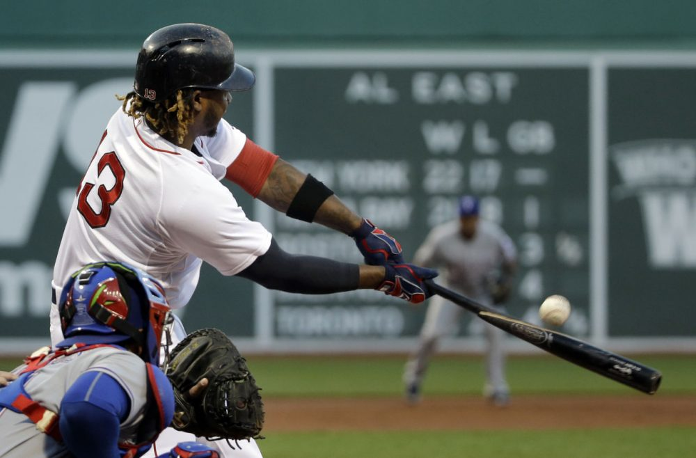 Hanley Ramirez breaks his bat in the first inning of a game against the Texas Rangers at Fenway Park, Tuesday May 19, 2015. (Elise Amendola/AP)