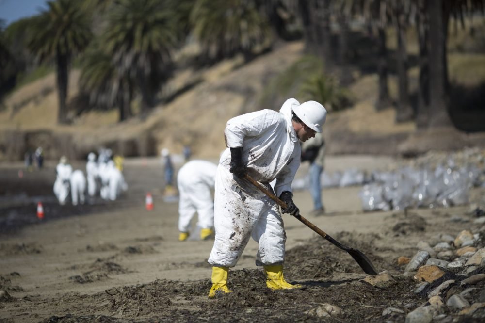 Crews clean oil from the beach at Refugio State Beach on May 20, 2015 north of Goleta, California. About 21,000 gallons spilled from an abandoned pipeline on the land near Refugio State Beach, spreading over about four miles of beach within hours. The largest oil spill ever in U.S. waters at the time occurred in the same section of the coast where numerous offshore oil platforms can be seen, giving birth to the modern American environmental movement. (David McNew/Getty Images)