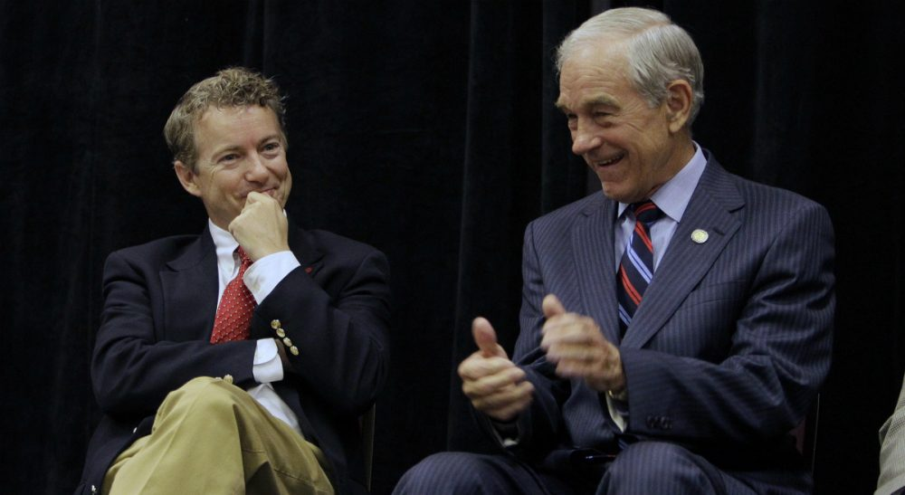 The political philosophy is great for back-benching, but not for governing, says Rich Barlow. Pictured: Rand Paul, left, with his father, Ron Paul, Saturday, Oct. 2, 2010.  (Ed Reinke/AP)