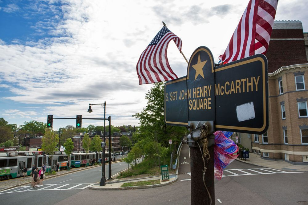 Sgt. John Henry McCarthy Square on the corner of Commonwealth Avenue and Colburne Road in Brighton. (Jesse Costa/WBUR)