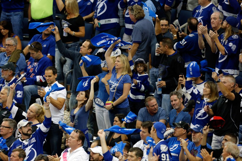 The Tampa Bay Lightning have gone to some unusual lengths to make sure no one in the stands is wearing New York Rangers gear. (Mike Carlson/Getty Images)
