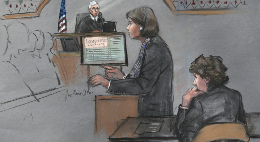 In this courtroom sketch, defense attorney Judy Clarke is depicted addressing the jury as defendant Dzhokhar Tsarnaev, right, sits during closing arguments in Tsarnaev's federal death penalty trial Monday, April 6, 2015, in Boston. (Jane Flavell Collins/AP)