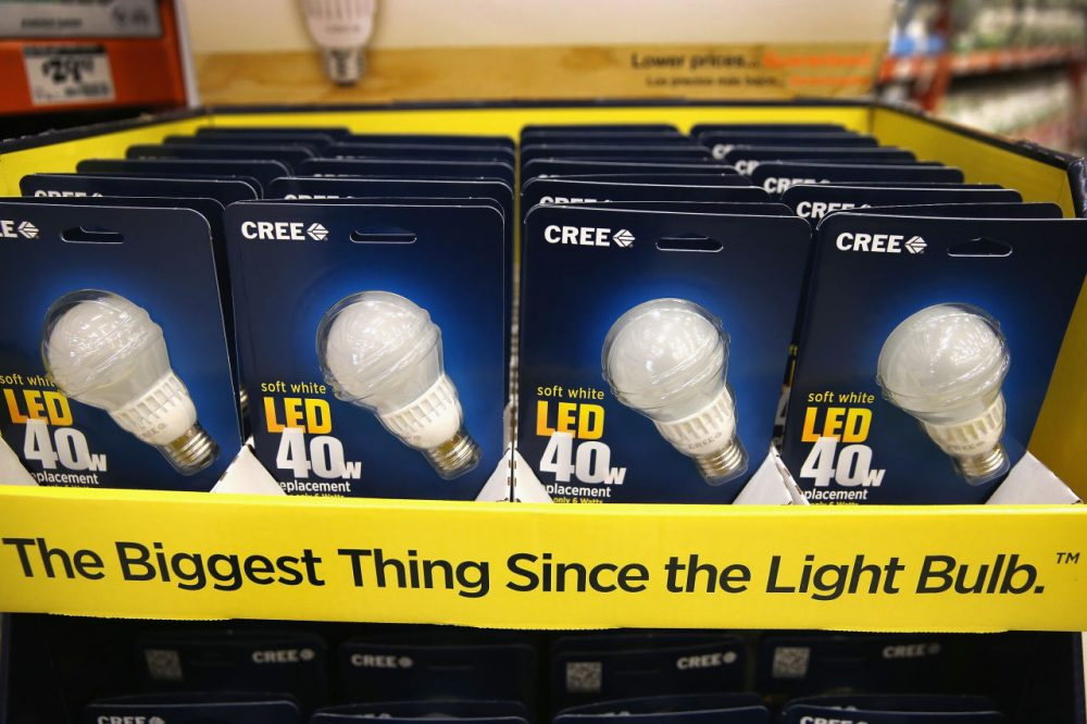 LED light bulbs are offered for sale at a Home Depot store on December 27, 2013 in Chicago, Illinois. (Scott Olson/Getty Images)