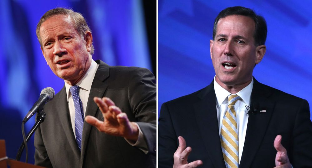 Former New York Governor George Pataki (left) and Former U.S. Sen. Rick Santorum (right), both pictured earlier this month, are the latest Republicans to announce runs for president. (Scott Olson, Alex Wong/Getty Images)