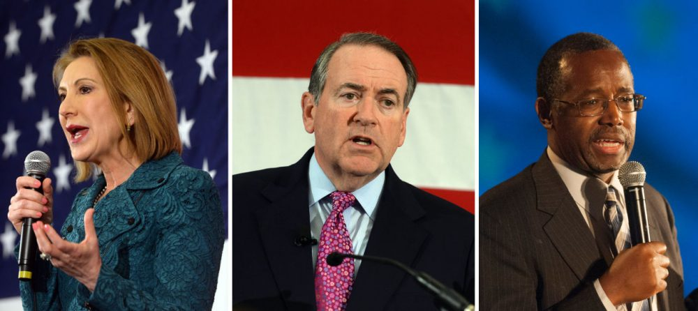 Three more Republicans have jumped into the race for 2016. From left: Carly Fiorina, Mike Huckabee and Dr. Ben Carson. (First two photos by Darren McCollester/Getty Images; third photo by Laura Segall/Getty Images)