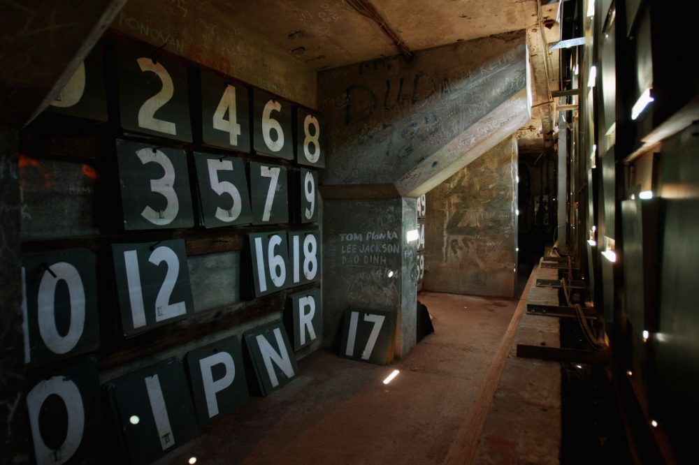 Numbers used in the ballpark's manual scoreboard known as the Green Monster to score the game between Boston Red Sox and the Baltimore Orioles.(Elsa/Getty Images)