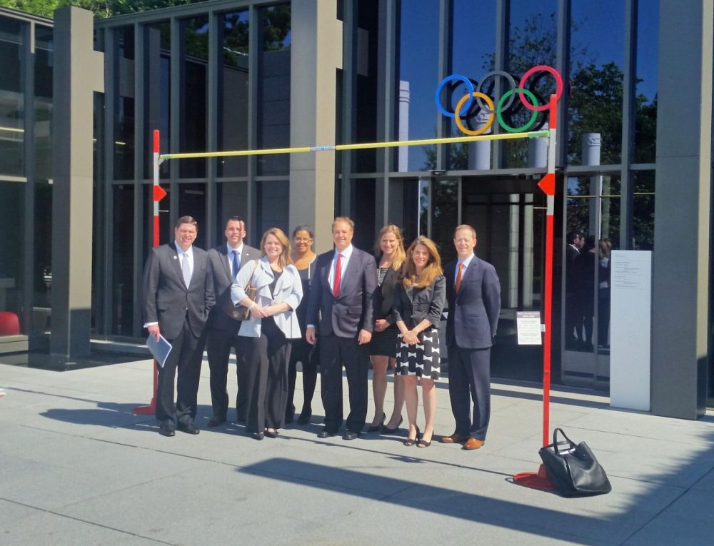 The leadership of Boston 2024 and the USOC outside the Olympic Museum in Lausanne, Switzerland. (Courtesy Boston 2024)