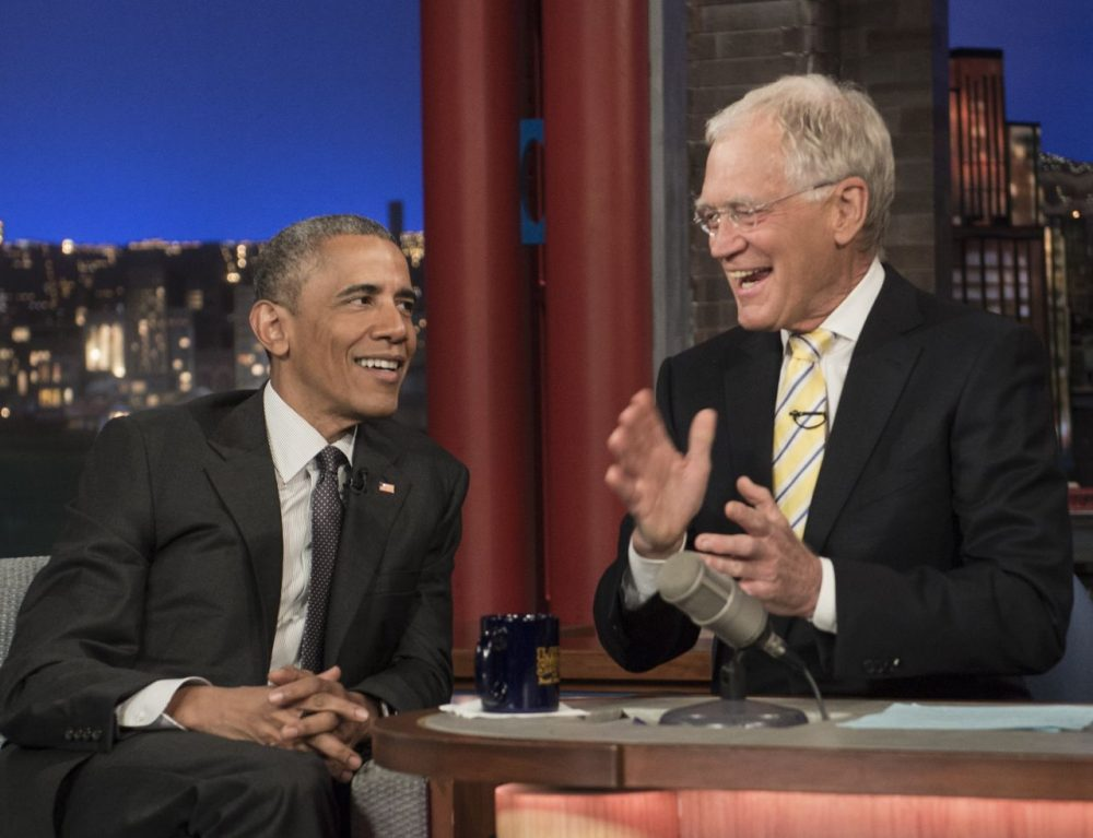 "US President Barack Obama tapes an appearance on the ""Late Show with David Letterman"" in New York on May 4, 2015. (Nicholas Kamm/AFP/Getty Images)"