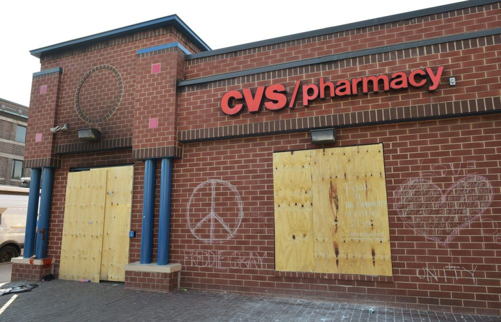 The boarded CVS Pharmacy is seen at Pennsylvania and West North avenues  in West Baltimore on May 4, 2015.  (Mandel Ngan/AFP/Getty Images)